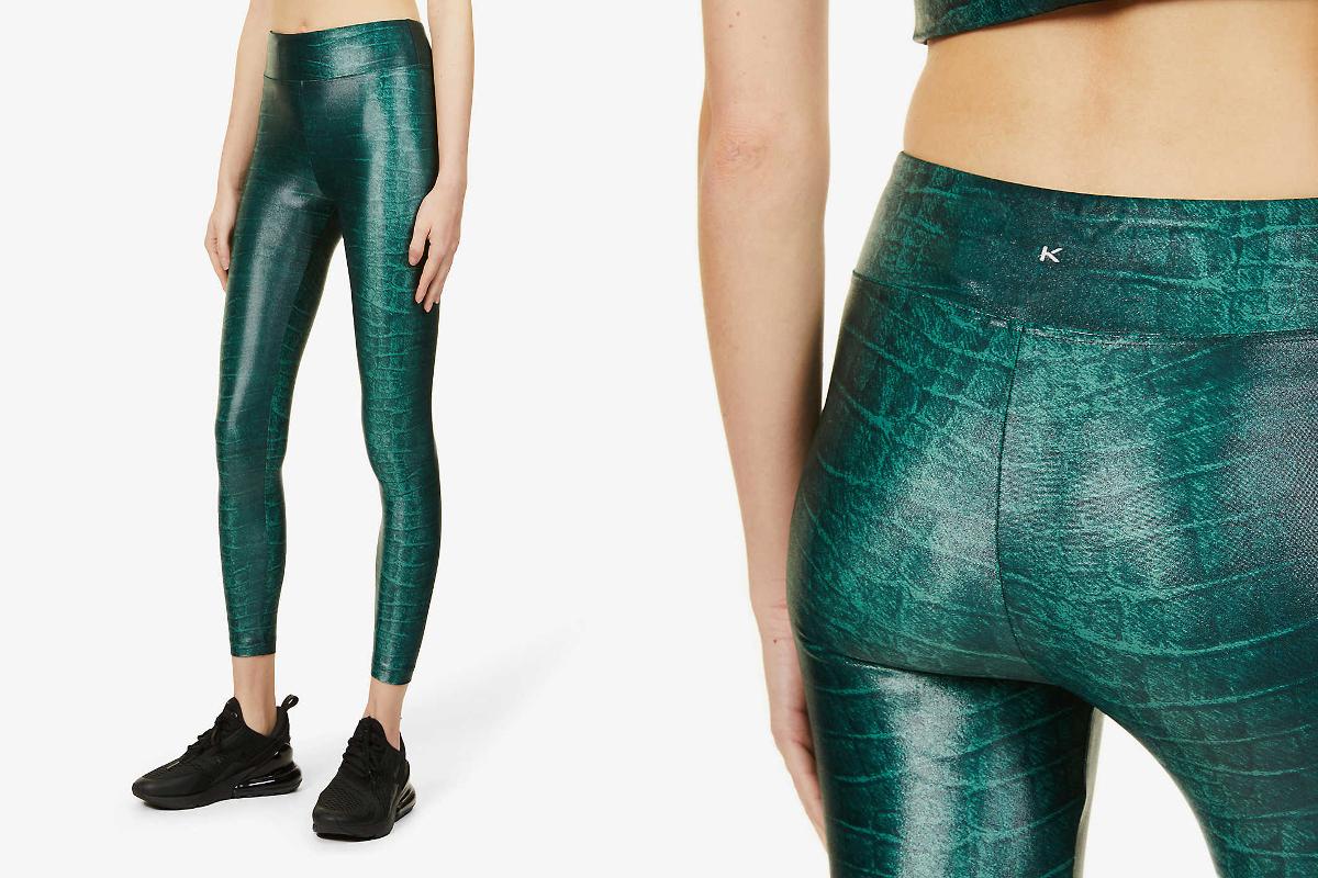 Lustrous high-shine stretch-jersey leggings