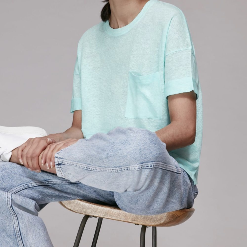 Whistles Turquoise Linen Pocket Top